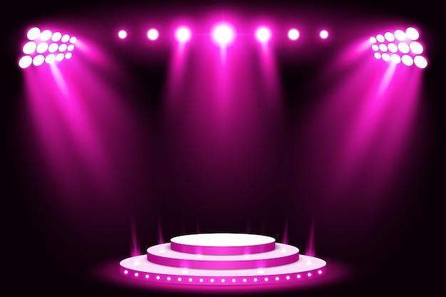 Holofote de pódio de luz de palco roxo com tapete vermelho