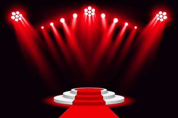 Holofote de pódio de luz de palco vermelho com tapete vermelho
