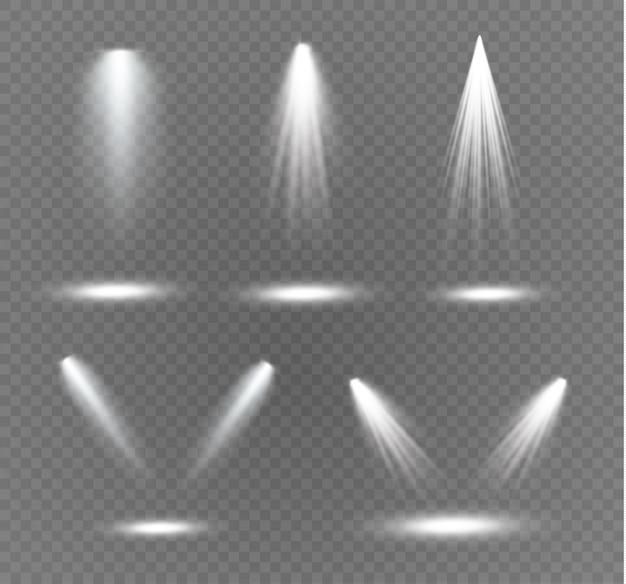 Holofote. efeito de luz. efeito de luz transparente branco isolado de brilho. projeto de elemento de efeito especial abstrato.