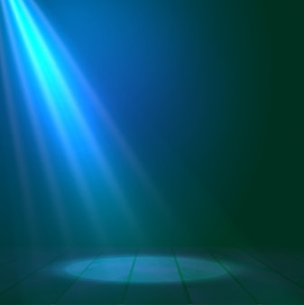 Holofote holofote ilumina o fundo da cena de madeira