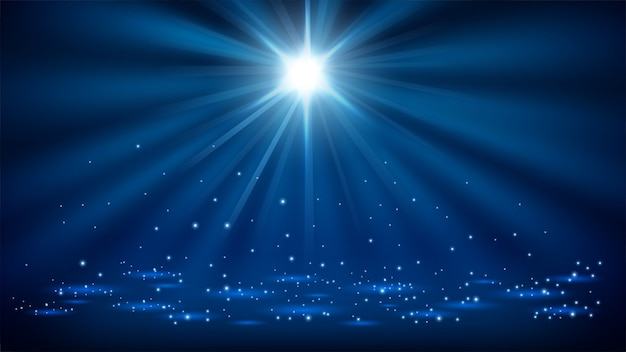Holofotes azuis brilhando com brilhos 16: 9