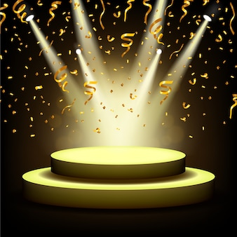 Holofotes brilhando no palco vazio com confetes de ouro