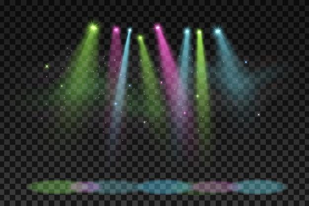Holofotes coloridos para festa isolada no escuro