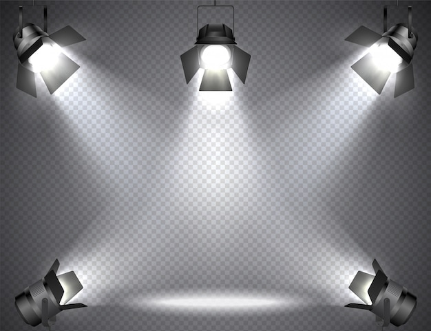 Holofotes com luzes brilhantes em transparente
