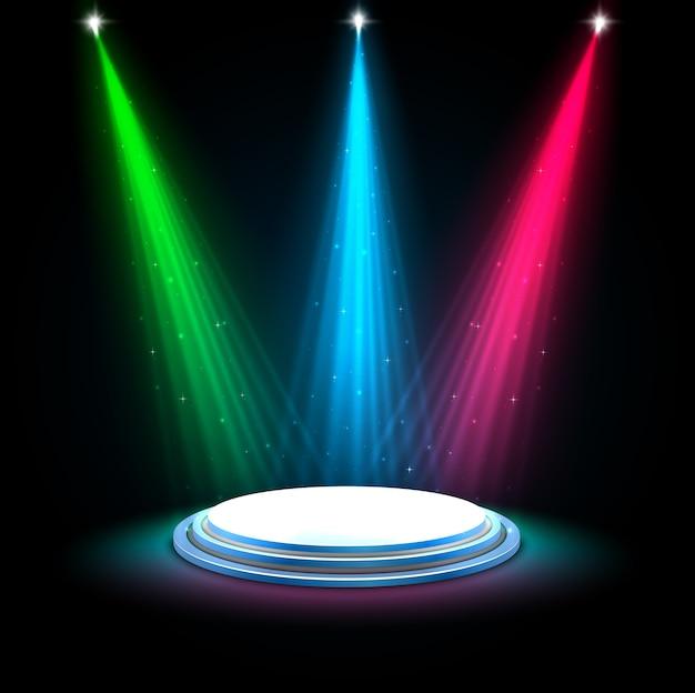 Holofotes de brilho colorido