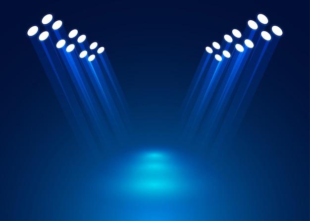 Holofotes de iluminação no palco