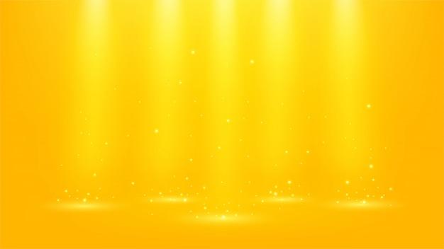 Holofotes de ouro brilhando com brilhos 16: 9