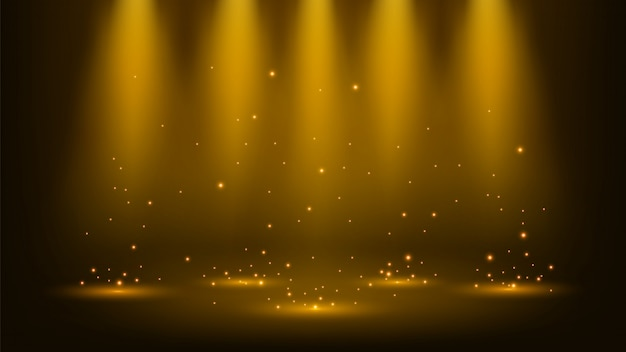 Holofotes de ouro brilhando com brilhos