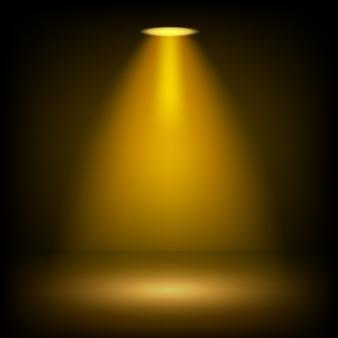 Holofotes de ouro brilhando no fundo transparente