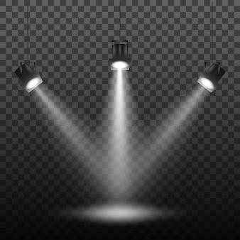 Holofotes definidos no escuro