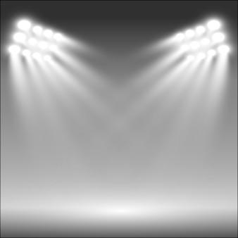 Holofotes do estádio iluminam brilhantemente