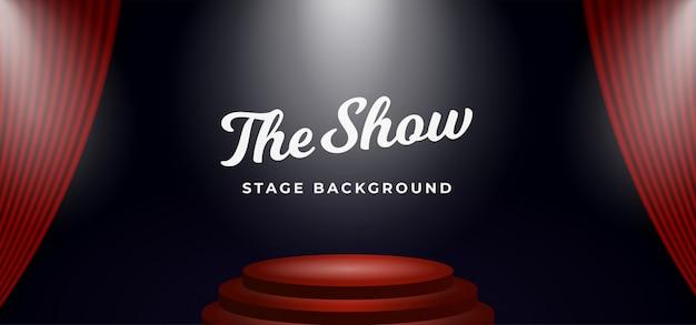 Holofotes do pódio de palco no cenário de cortina de teatro aberto