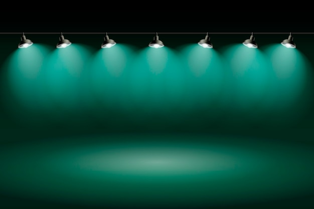 Holofotes fundo verde estúdio