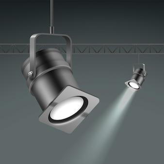 Holofotes iluminados no teto de vetor fecham a vista lateral isolada em fundo cinza escuro