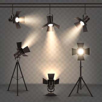 Holofotes ilustração realista com luz quente