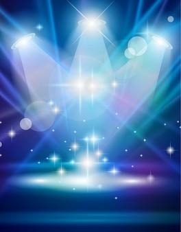 Holofotes mágicos com raios azuis e efeito brilhante