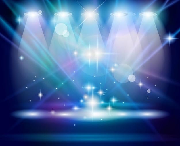 Holofotes mágicos com raios azuis