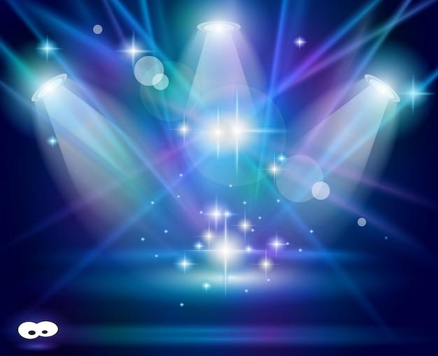 Holofotes mágicos com raios violetas azuis