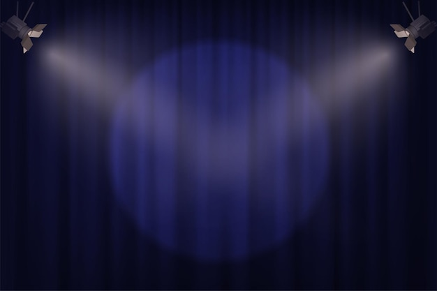 Holofotes no fundo da cortina azul