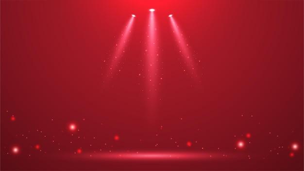 Holofotes no palco com fumaça e luz ilustração vetorial