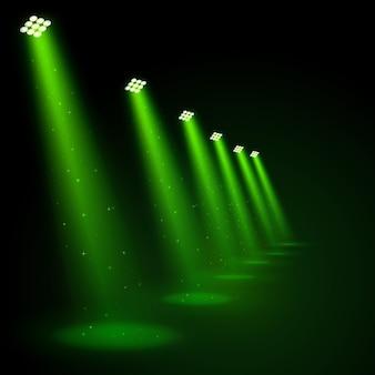 Holofotes verdes brilhantes