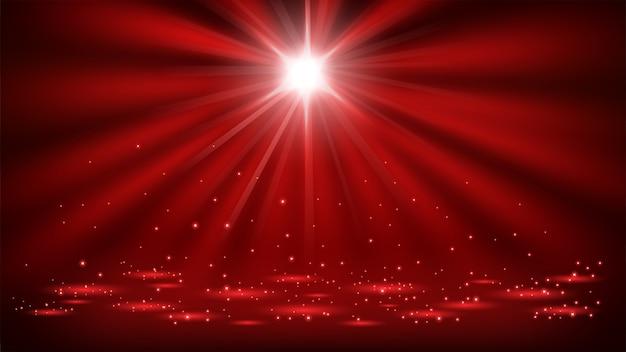 Holofotes vermelhos brilhando com brilhos 16: 9