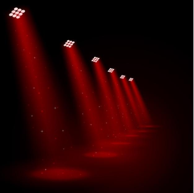 Holofotes vermelhos brilhantes