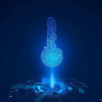 Holograma da impressão digital da chave do circuito. elementos futuristas do hud. painel com tela de toque futurista de ficção científica. ilustração vetorial