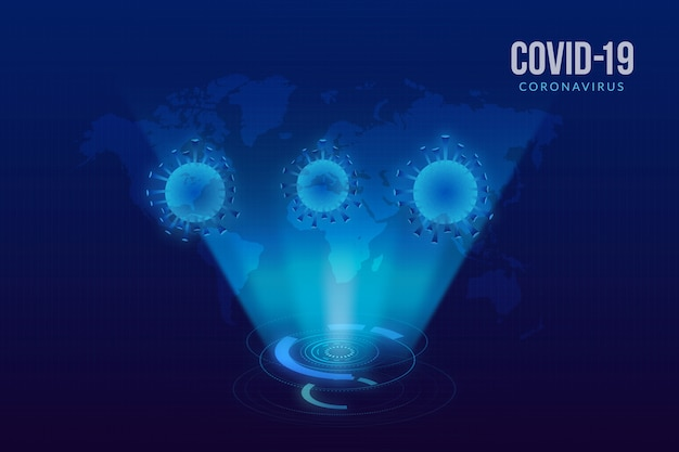 Holograma de coronavírus de design realista