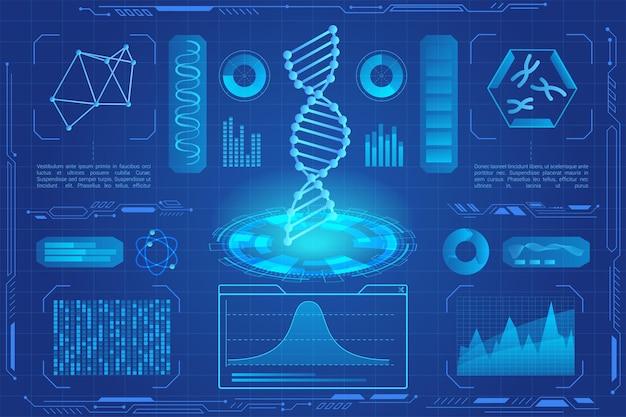 Holograma de luz de néon moderno de dna, microbiologia, biotecnologia genética, gráficos de dados de dna, tabelas