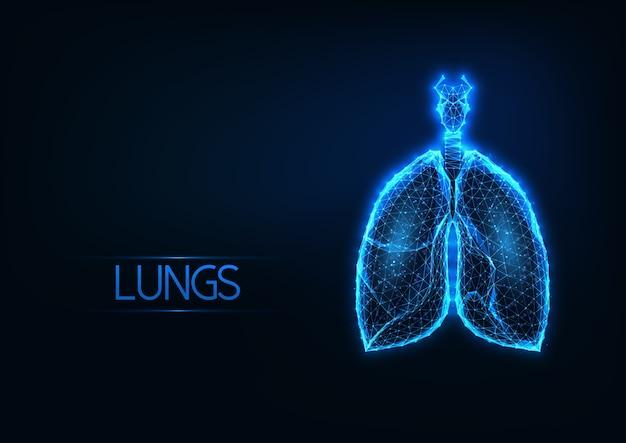 Holograma de pulmões anatômicos poligonal baixo brilhante futurista sobre fundo azul escuro. tecnologias de diagnóstico médico. design de malha wireframe moderno