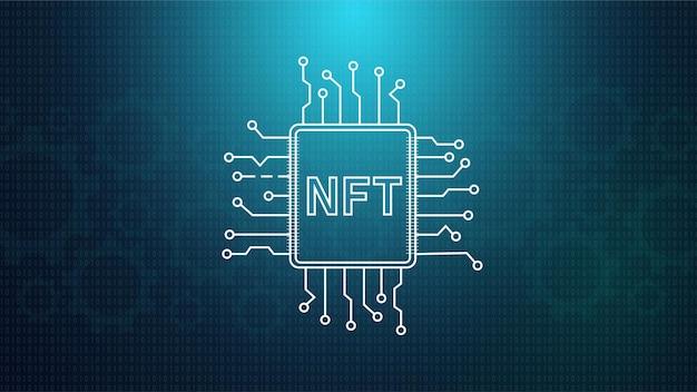 Holograma de token virtual nft com conexão de ponto de circuito de rede e número cityscape em um verso azul