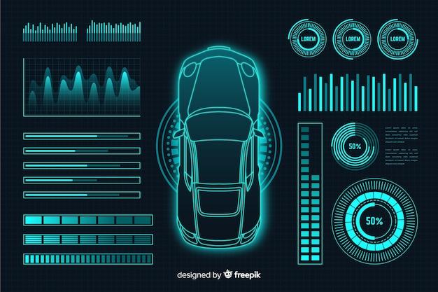 Holograma futurista de um carro