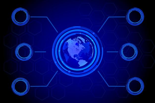 Holograma global do mapa-múndi azul