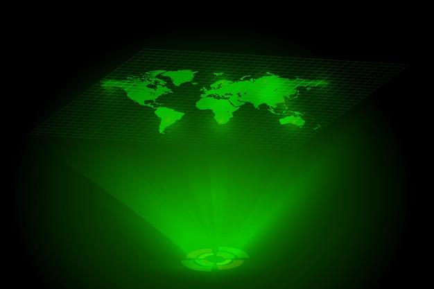 Holograma global do mapa mundo verde