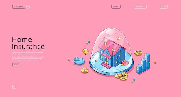 Home insurance banner concept of real estate finanças segurança propriedade garantia vector landing page o ...