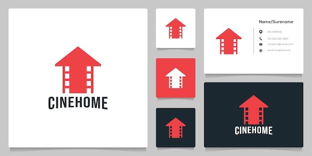 Home real estate roll cinema photography design de logotipo com cartão de visita