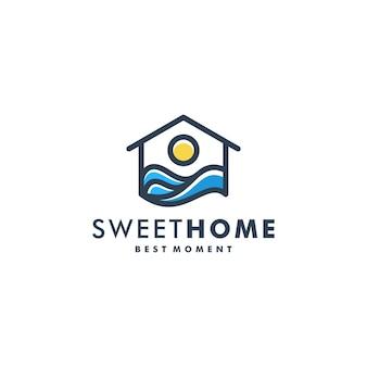 Home sunset logo template vector icon logo
