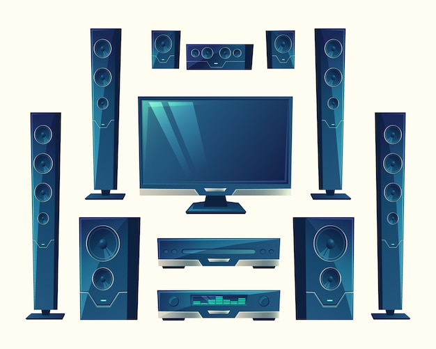 Home theater, sistema de áudio e vídeo, equipamentos acústicos, tecnologia estéreo.