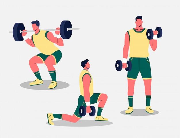 Homem a fazer aquecimento e exercícios com barra e halteres em branco