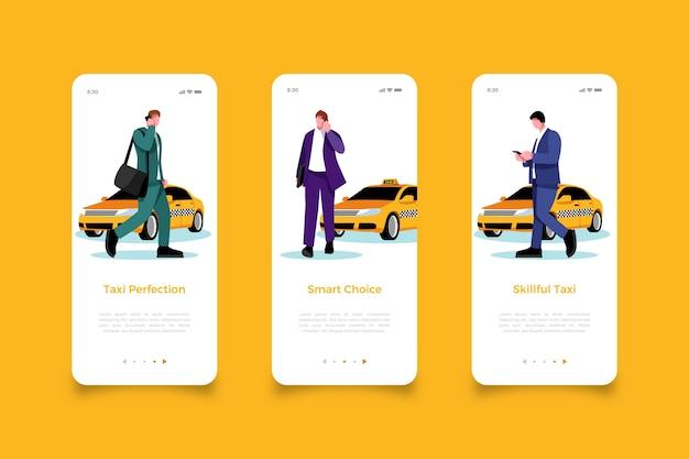 Homem à procura de telas de aplicativos móveis de táxi