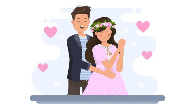 Homem abraçando uma mulher de costas na ilustração do dia dos namorados