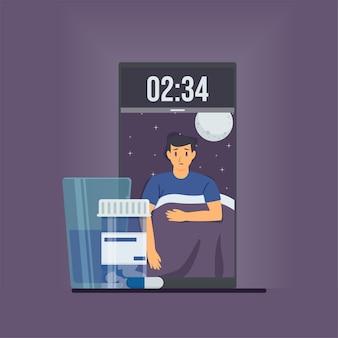 Homem abre os olhos no telefone à meia-noite com cápsulas metáfora da insônia.