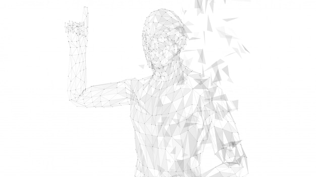 Homem abstrato conceitual, apontando o dedo para cima