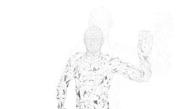 Homem abstrato conceitual com a mão apontando para cima