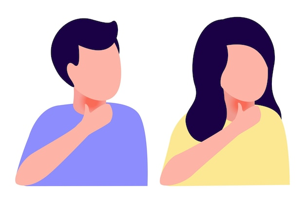 Homem abstrato doente e mulher com dor de garganta, doença, tosse, resfriado, fraqueza