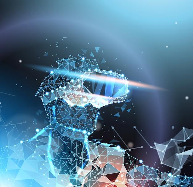Homem abstrato wireframe em vr headset, realidade virtual e conceito de tecnologia do futuro