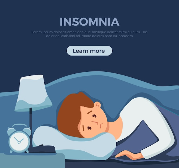 Homem acordado e sonolento na cama sofre de insônia