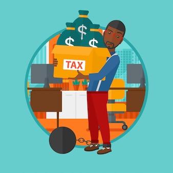 Homem acorrentado com sacos cheios de impostos.