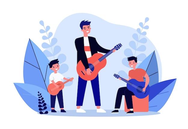 Homem, adolescente e menino tocando violão juntos. músico, diversão, ilustração em vetor plana para crianças